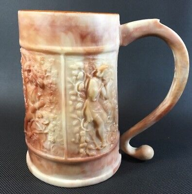 Incolay Genuine Stone Beer Stein Figural Design On Sides Rose Brown 10T