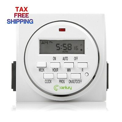 Century 7 Day Heavy Duty Digital Programmable Timer Dual Outlet Both Control