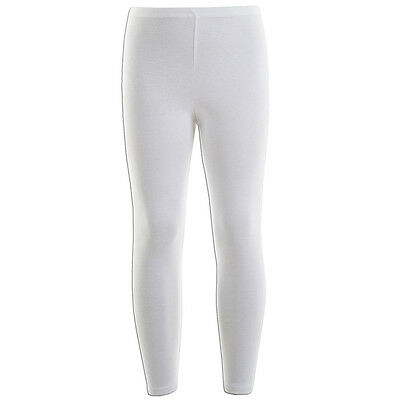 Kids Girls White Plain Full Length Stretchable Legging Great Fit 7 - 13 Years