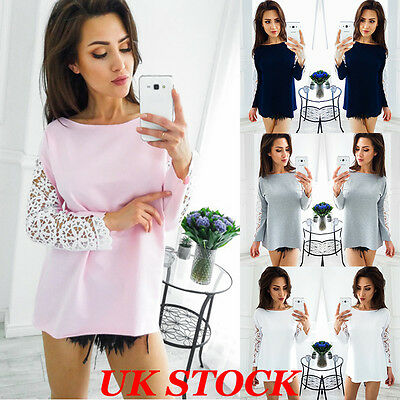 Women Embroidery Lace Long Sleeve Top Blouse Ladies Fashion Casual Tops T Shirt