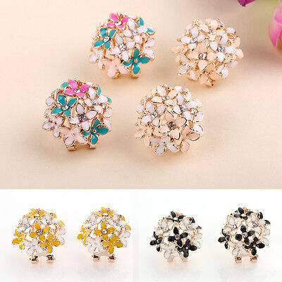 Women Elegant Flower Bouquet Crystal Rhinestone Ear Stud Earrings Jewelry