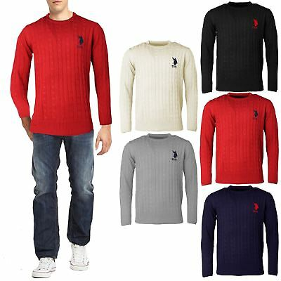 Mens US POLO Assn Knitwear Sweater Cable Knit Jumper Crew Neck Long Sleeve Top