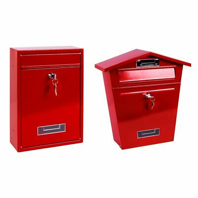 Steel Square Post Box Red Mail Letter Lockable Keys Wall New By Home Discount
