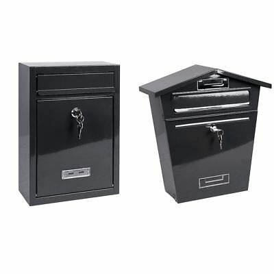 Steel Square Post Box Grey Mail Letter Lockable Keys Wall New By Home Discount