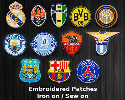 Embroidered Patch Badge Real Inter Shakhtar PSG Manchester Roma Iron On Sew On