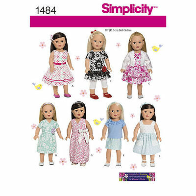 Simplicity Sewing Pattern 1484 Dolls Clothes to fit Dolls approx 18in 45.5 cm