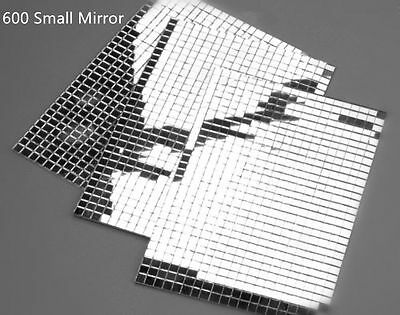 600 Small Self-Adhesive Mirror Mosaic Tiles Mirror Tiling Home DIY Decoration UK