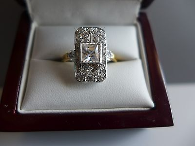9ct gold on silver cz  art deco plaque ring