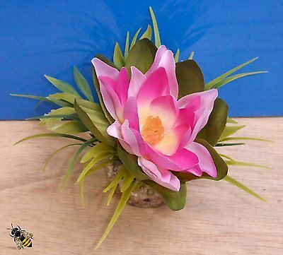 Aquarium Ornament Lotus Silk Flower Plant Fish Tank Bowl Decoration Pink New