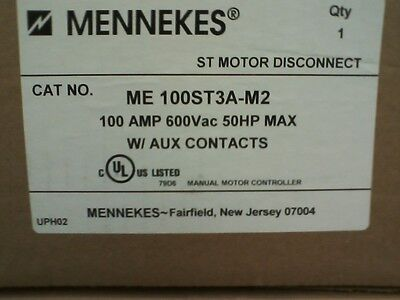 MENNEKES ME 100ST3A-M2 STAINLESS STEEL 100A 600V 50HP w/AUX CONTACTS