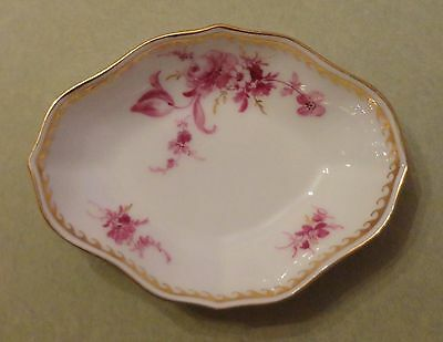 MEISSEN China CROSS SWORDS Antique Purple FLOWER PAINTING Porcelain OBLONG TRAY