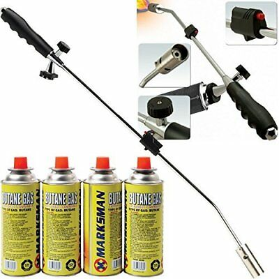 Weed Burner Propane Torch Garden Patio Tool & 4 Bottles Butane Gas Canisters