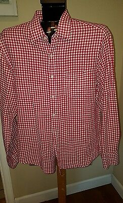 Mens - Awesome J.crew Linen/cotton Shirt - Red & White Check L/s - Size Medium