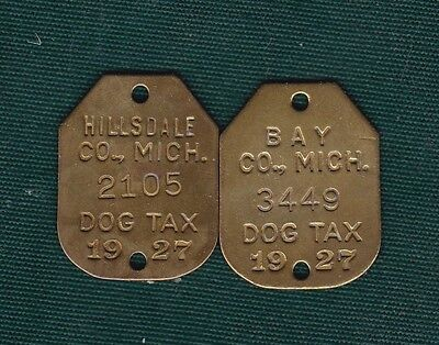 Hillsdale & Bay Co. MI 1927 dog license tax tags