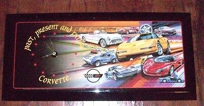 "Corvette Wall Clock Past Present And Future 23"" X 11"" Works Great! Chevy Vette"