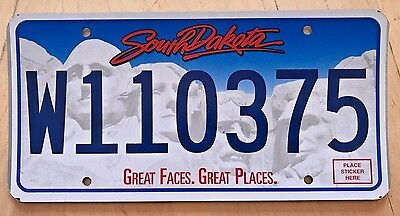 """South Dakota  License Plate """" W 110375 """" Sd Mount Rushmore Great Faces Places"""