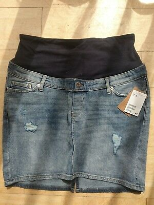 H & M mama maternty distressed denim skirt size 16. Over-bump style