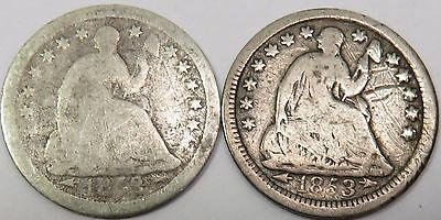 x2 1853-P with Arrows Seated Liberty Half 1/2 Dime Silver 5c US Coin Item #13628
