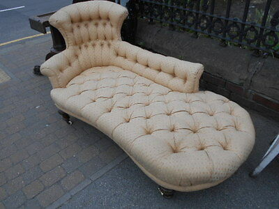 Victorian Chaise Lounge Fully Buttoned Left Hand Back Rest Cream Upholstery