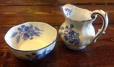 royal crown czechoslovakia blue and white creamer and sugar - wheat & floral