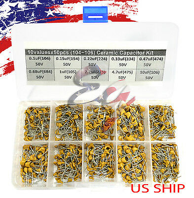 10 Types x 50 0.1uF~10uF (104~106) Monolithic Ceramic Capacitor Assorted kit box