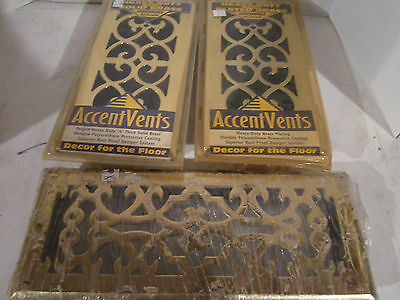 "Lot of 3 BRASS Floor Registers (2 are 4""x10"" and 1 is 4""x12"") Brand New Sealed"