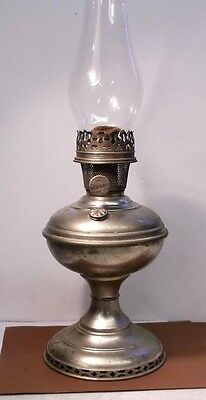 Antique ALADDIN MODEL NO 6 OIL LAMP Nickel Plated with chimney