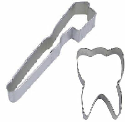 2 Piece Tooth & Toothbrush Cookie Cutter Set NEW! Dentist Party