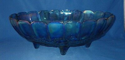 Vintage  Blue Indiana Carnival Glass 4  Footed Bowl Iridescent Harvest Grape
