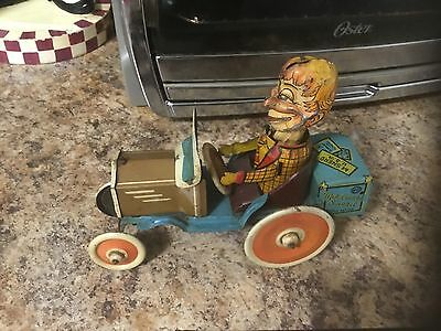 """Rare Antique 1939 Marx """"Mortimer Snerd"""" Crazy Wind-Up Tin Car Toy - Working"""