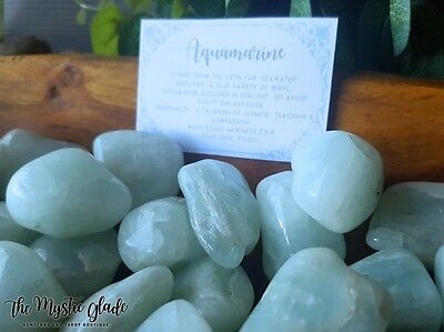 Aquamarine Light Blue Green Pale Large Tumbled Stone Gemstone Crystal Polished