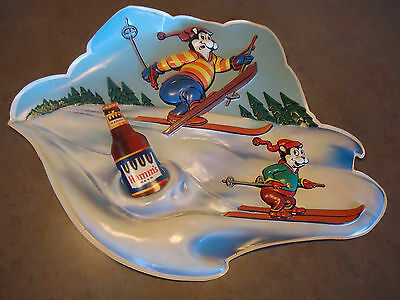 Hamms bear beer advertising sign vacu- u- form vtg 1960' winter sking bottle gas