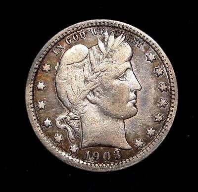 1903 Barber Quarter Rare Old U.s. Type Coin Problem Free