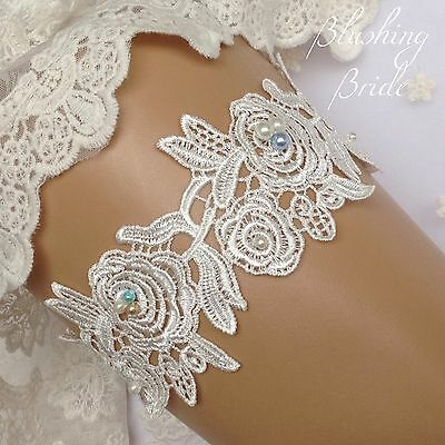 Simply Elegant, Venetian lace and Pearls, Bridal Garter, Wedding Bride