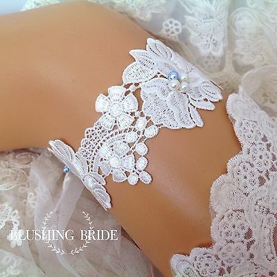 Simply Elegant, Venetian lace & Pearls, Bridal Garter, Wedding Bride