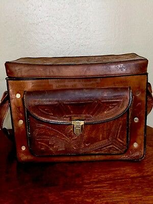 Vtg leather camera bag shoulder bag hand tooled Aztec design, Stamped + Bonus!