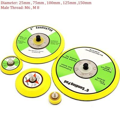 1''-6'' Sanding Disc Backing Pads Hook and Loop 25mm-150mm M6/M8 For Air Sander