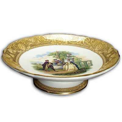 Large Prattware Porcelain Footed Compote with Garden Scene - 1880's