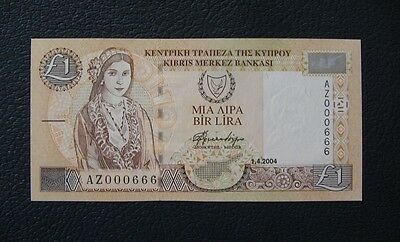 Cyprus 1 Pound 2004  Gem Uncirculated Low Serial Number  000666