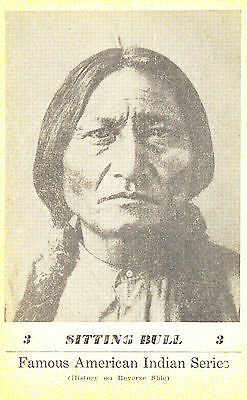 """""""Sitting Bull"""" in Famous American Indian Series by GI Groves B&W Card ca. 1941"""