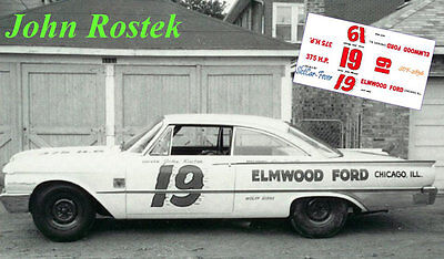 CD_2856 #19 John Rostek  1961 Ford Starliner 1:25 Scale Decals