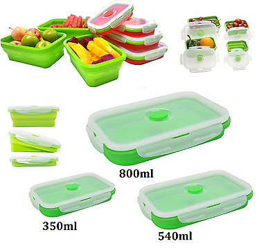 Silicone Collapsible Lunch Box Portable Folding Food Storage Container With Lids  sc 1 st  PicClick UK & SILICONE COLLAPSIBLE LUNCH Box Portable Folding Food Storage ...