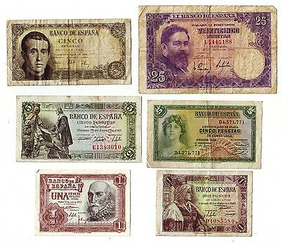 Lot of  6 Spain Banknotes