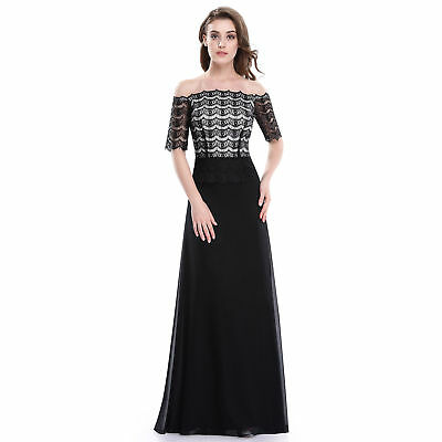 Women Off Shoulder Ball Gown Formal Cocktail Party Wedding Prom Maxi Dress Black