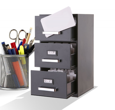 Index Business Card Files Mini File Cabinet Business Card Holder 3-Drawer