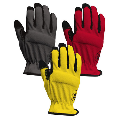 Firm Grip Red Assorted Grey Yellow Synthetic Leather Large Work Gloves (3 Pack)