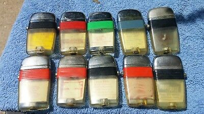 Scripto  Vu-Lighter 10 piece lot misc color bands and ads all used one price
