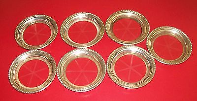 7 Vintage Cut Etched Star Burst Glass & Sterling Silver Coasters - 4 inches diam