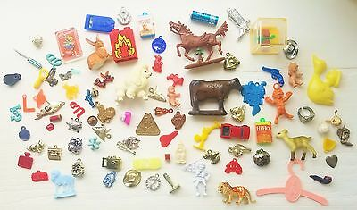 VINTAGE CRACKER JACK GUMBALL PRIZE LOT OF 91 pieces, CELLULOID/METAL/PLASTIC