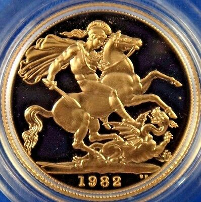 1982 UK Great Britain Proof Gold Sovereign Coin Box COA